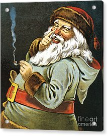 Illustration Of Santa Claus Smoking A Pipe Acrylic Print by American School