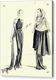 Illustration Of Two Women Acrylic Print