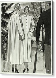 Illustration Of Two Women Wearing Coats Acrylic Print by Pierre Mourgue