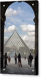 I.m. Pei Pyramid At Louve In Paris Acrylic Print by Carl Purcell