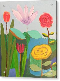 Acrylic Print featuring the painting Imagined Flowers One by Rod Ismay