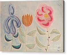 Acrylic Print featuring the painting Imagined Flowers Two by Rod Ismay