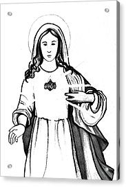 Acrylic Print featuring the drawing Immaculate Heart Of Mary by Mary Ellen Frazee