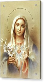 Acrylic Print featuring the mixed media Immaculate Heart Of Mary by Movie Poster Prints