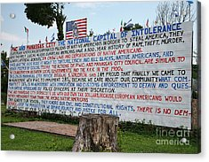 Immigrant Protest Sign In Manassas Acrylic Print by William Kuta