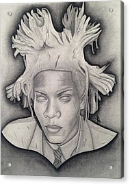 Immortalizing In Stone Jean Michel Basquiat Drawing Acrylic Print
