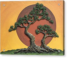 Impasto - Bonsai With Sun - One Acrylic Print by Lori Grimmett