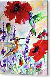 Impressionist Hummingbirds On Red Poppies And Lavender  Acrylic Print