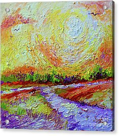 Acrylic Print featuring the painting Impressionist Sunny Day Landscape by Ginette Callaway