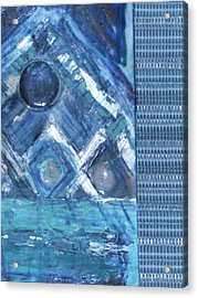 Impressionistic Blues With Buttons Acrylic Print by Anne-Elizabeth Whiteway