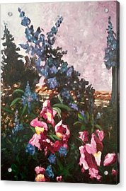 Acrylic Print featuring the painting Impressionistic Flowers by Ray Khalife