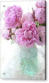 Impressionistic Romantic Pink Peonies Aqua Vase French Impressionism - Romantic Shabby Chic Peonies Acrylic Print by Kathy Fornal