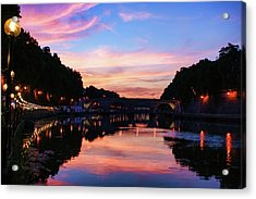 Impressions Of Rome - Divine Sky And A Necklace Of Lights Along Tiber River Acrylic Print
