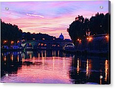Impressions Of Rome - Glorious Sky Over Tiber River Acrylic Print