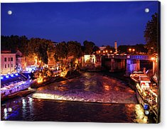Impressions Of Rome - Summer Festival On The Banks Of Tiber River Acrylic Print