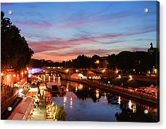 Impressions Of Rome - Summertime Festival On The Banks Of Tiber River Acrylic Print