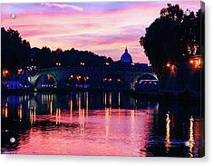 Impressions Of Rome - Tiber River Silky Current In Pink And Purple Acrylic Print
