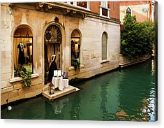 Impressions Of Venice - Shopping For A Black Dress At An Elegant Canalside Boutique Acrylic Print by Georgia Mizuleva