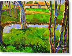 In A Wood With A Creek Acrylic Print by Charlie Spear
