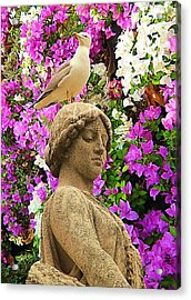 In Colors Stood With A Seagull On A Head Acrylic Print