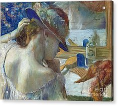 In Front Of The Mirror Acrylic Print by Edgar Degas