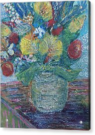 In Honor Of My Friends In My Garden Acrylic Print by Anne-Elizabeth Whiteway