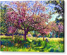 In Love With Spring, Blossom Trees Acrylic Print by Jane Small