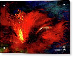 In Red Abstract Hibiscus Acrylic Print