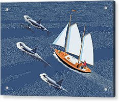 Acrylic Print featuring the digital art In The Company Of Whales by Gary Giacomelli