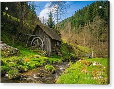 In The Countryside - Old Barn Near River Acrylic Print by Thomas Jones