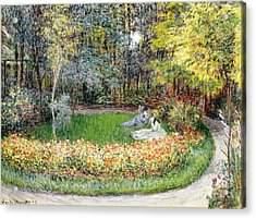 In The Garden, 1875 Acrylic Print by Claude Monet