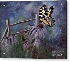Acrylic Print featuring the painting In The Garden by Brenda Thour