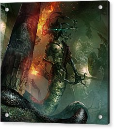 In The Lair Of The Gorgon Acrylic Print by Ryan Barger
