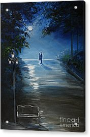 In The Loving Moonlight Acrylic Print by Leslie Allen