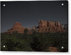 In The Moonlight Bell Rock Courthouse Butte Sedona Acrylic Print