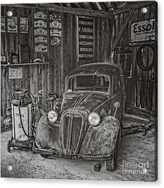 In The Old Garage Acrylic Print by Edward Fielding