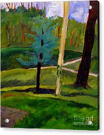 In The Rough Blue Spruce Plein Air Acrylic Print