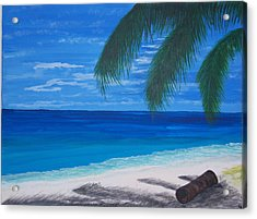In The Shade Of A Palm Acrylic Print by Nancy Nuce