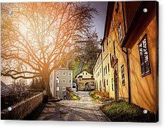 In The Shadow Of Salzburg Castle  Acrylic Print by Carol Japp
