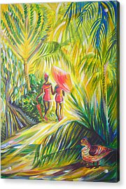 Acrylic Print featuring the painting In The Tropics by Anna  Duyunova