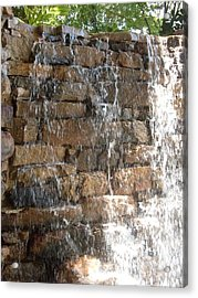 In Thought At The Falls Acrylic Print by Warren Thompson