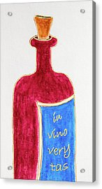 Acrylic Print featuring the drawing In Vino Very Tas by Frank Tschakert
