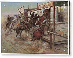 In Without Knocking Acrylic Print by Charles M Russell