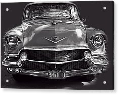 In Your Face - 1956 Cadillac Bw Acrylic Print