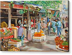 India Flower Market Street Acrylic Print by Dominique Amendola