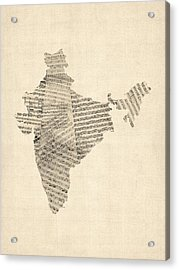 India Map, Old Sheet Music Map Of India Acrylic Print by Michael Tompsett