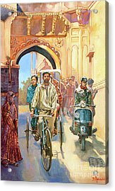 India Street Scene With A Bicycle Rickshaw Acrylic Print by Dominique Amendola