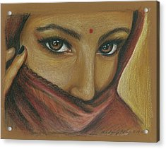 India Woman Acrylic Print by Linda Nielsen