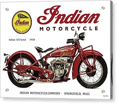 Indian 101 Scout, 1928, Motorcycle Sign, Vintage, Original Art Acrylic Print