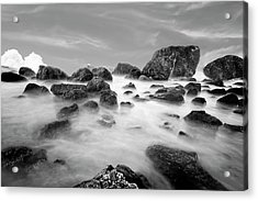Indian Beach, Ecola State Park, Oregon, In Black And White Acrylic Print